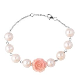 Jardin Collection - Freshwater Pearl and Pink Mother of Pearl Bracelet (Size 7.5 - 8) in Rhodium Ove