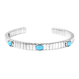 GP Tubogas Collection- Arizon Sleeping Beauty Turquoise and Blue Sapphire Bangle (Size 7.5) in Rhodi