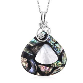 2 Piece Set Abalone Shell and White Shell Necklace in Stainless Steel 17.5 Inch