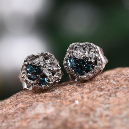 Blue Diamond (Bgt), Diamond Stud Earrings (with Push Back) in Platinum Overlay Sterling Silver 0.05 Ct.