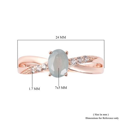Grandidierite (Ovl 7x5 mm), Natural White Cambodian Zircon Ring in Rose Gold Overlay Sterling Silver 1.05 Ct.