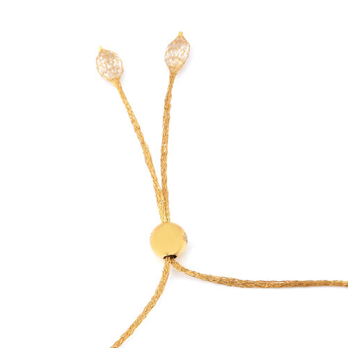 Italian Made - 9K Yellow Gold Cubic Zirconia Adjustable Bolo Bracelet (Size 6.5-9.5)