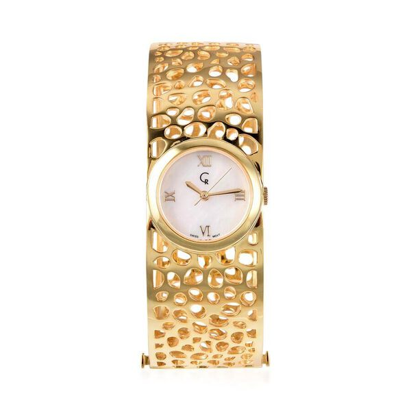 RACHEL GALLEY Swiss Movement Lattice Bangle Yellow Gold Overlay Sterling Silver Watch (Size 7.75), S