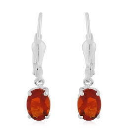 AA Red Citrine Lever Back Drop Earrings in Sterling Silver 1.50 Ct.