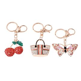 Set of 3 - Multicolour Austrian Crystal Cherry, Bag and Butterfly Enamelled Keychain in Gold Tone