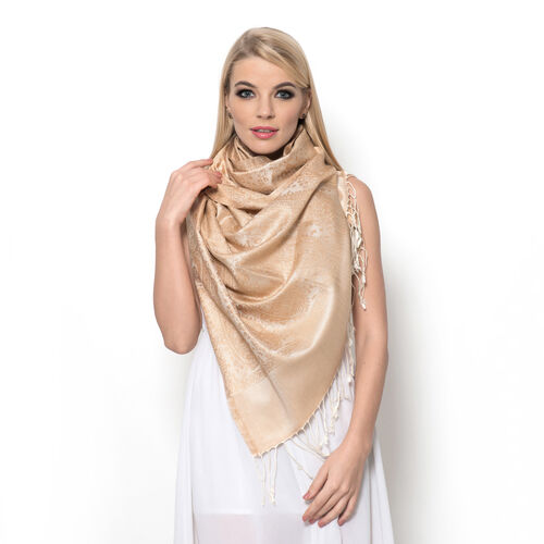 100% Superfine Silk Beige and Cream Colour Paisley and Floral Pattern Jacquard Jamawar Shawl with Fr