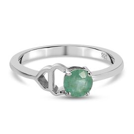 Emerald Ring in Platinum Overlay Sterling Silver 0.50 ct  0.500  Ct.