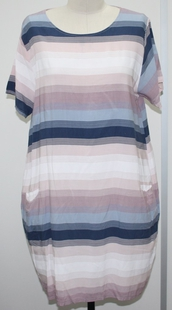 SUGARCRISP 100% Striped Dress with Pockets in Pink and Blue (Size up to 18)