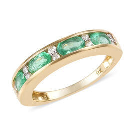 1 Carat Boyaca Colombian Emerald and Diamond Eternity Band Ring in 9K Yellow Gold