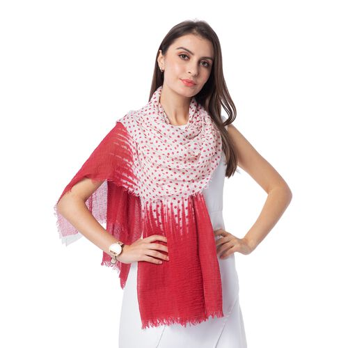 Red and White Colour Dot Pattern Top and End with Solid Colour Scarf (Size 180x90 Cm)