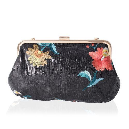 Black Sequin with Multi Colour Flower Embroidery Handbag with Adjustable Shoulder Strap (Size 29x18 Cm)