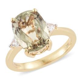 Collectors Edition- ILIANA 18K Yellow Gold AAA Turkizite (Cush) and Diamond (SI/G-H) Ring 5.000 Ct.