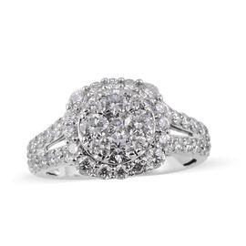 2 Carat Diamond Cluster Ring in 14K White Gold 5.3 Grams