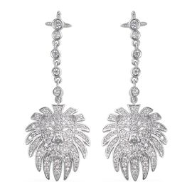 Simulated Diamond Lion Head Dangle Earrings in Silver Tone