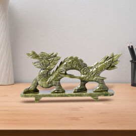 Handcrafted Decorative Chinese Style Walking Dragon Figurine (Size 26X11.5X5 Cm) - Green Serpentine