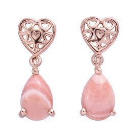 2 Carat Australian Pink Opal Drop Heart Earrings in Rose Gold Plated Sterling Silver