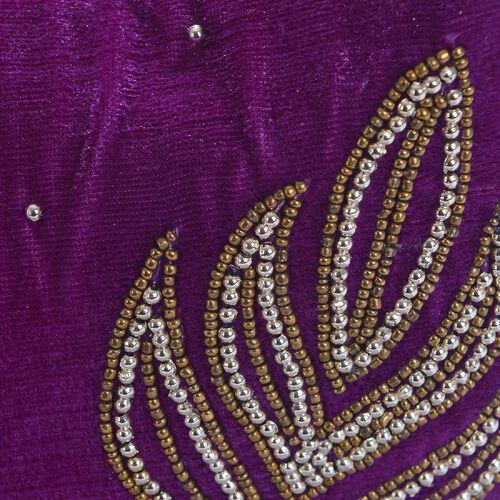 Weaved Embellishment Velvet Fortune Cookie bag (Size 16.51x24.13 Cm) - Purple
