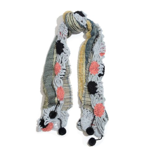 Blue, Pink and Multi Colour Winter Scarf with Pom Pom (Size 175x45 Cm)