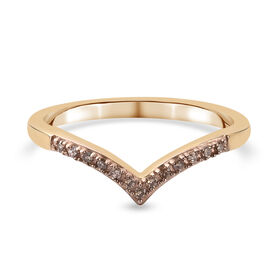 Natural Champagne Diamond Wishbone Ring in 14K Gold Overlay Sterling Silver