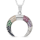 Simulated Multi Gemstone Crescent Moon Pendant with Chain (Size 20 with 2.5 inch Extender) in Silver