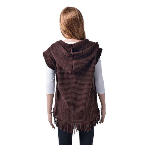 New Season- Chocolate Colour Gilet Cardigan (Size 60x55 Cm)