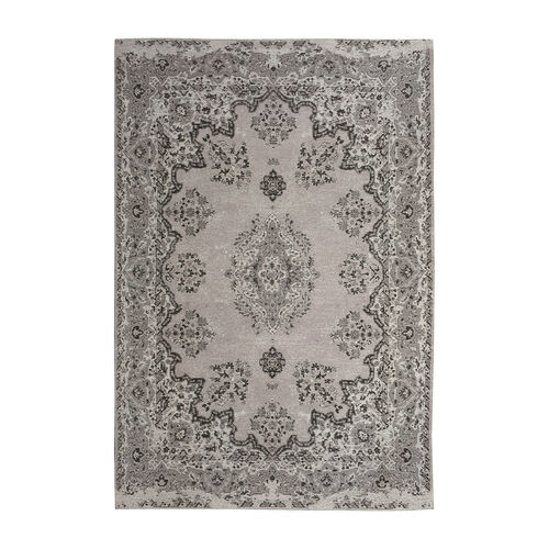 Premium Jacquard Woven 95% Cotton Chenille Area Rug with Medallion in Light Grey and Multi Colour (S