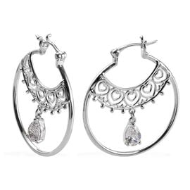 J Francis - Platinum Overlay Sterling Silver (Pear) Full Hoop Earrings (with Clasp) Made with SWAROV