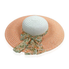 White and Peach Colour Ladies Hat (Estimated delivery within 3-5 working days)