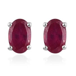 Fissure Filled Ruby Earring in Platinum Overlay Sterling Silver 0.25 ct  1.250  Ct.