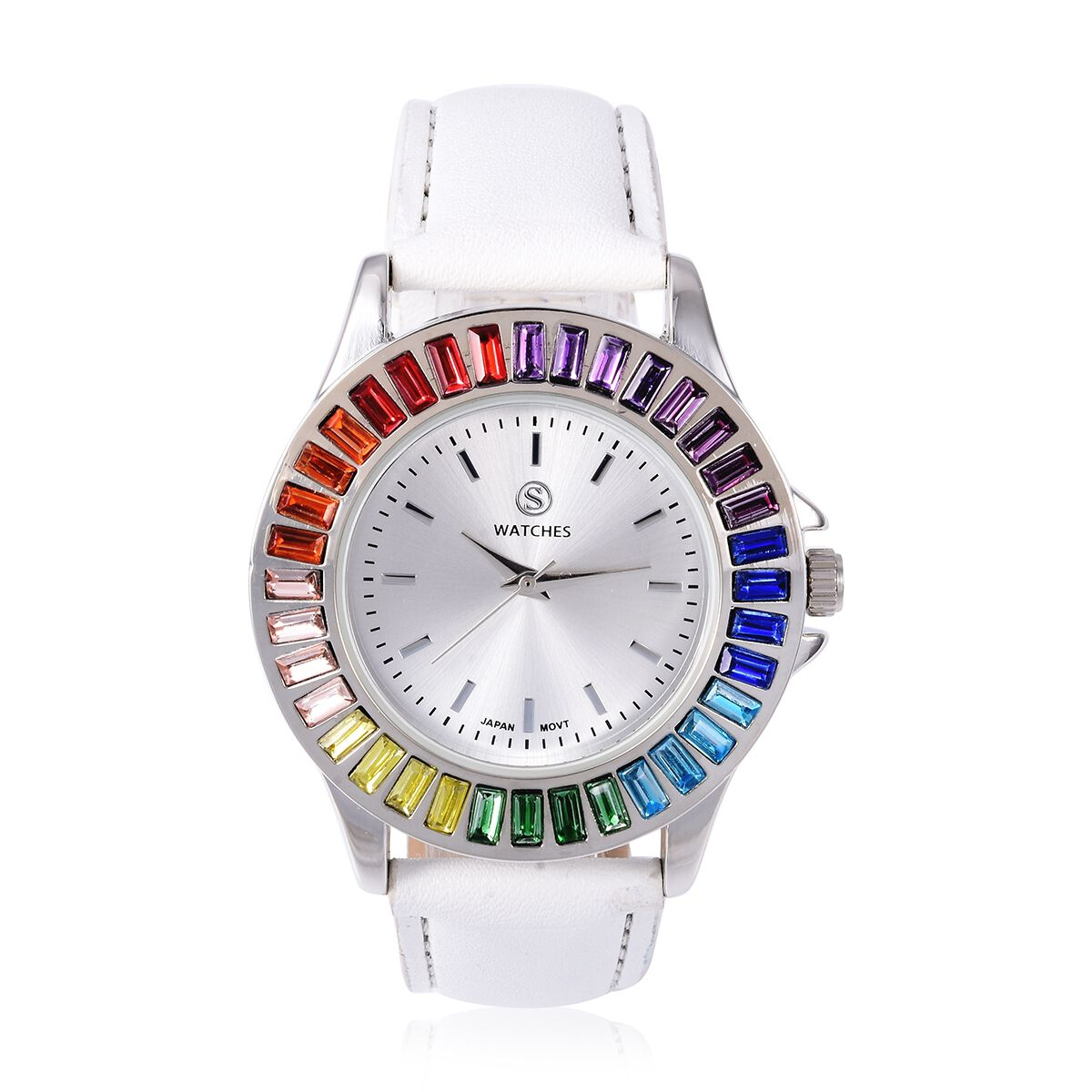 2 Piece Set STRADA Japanese Movement Water Resistant Multi Colour Simulated Gemstone Studded Watch with White Strap and Necklace Size 24 3297458