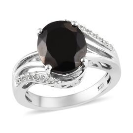 2.68 Ct Elite Shungite and Zircon Solitaire Design Ring in Platinum Plated Sterling Silver