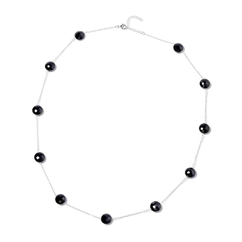 106.50 Ct Boi Ploi Black Spinel Station Necklace in Rhodium Plated Silver 26 with 2 inch Extender