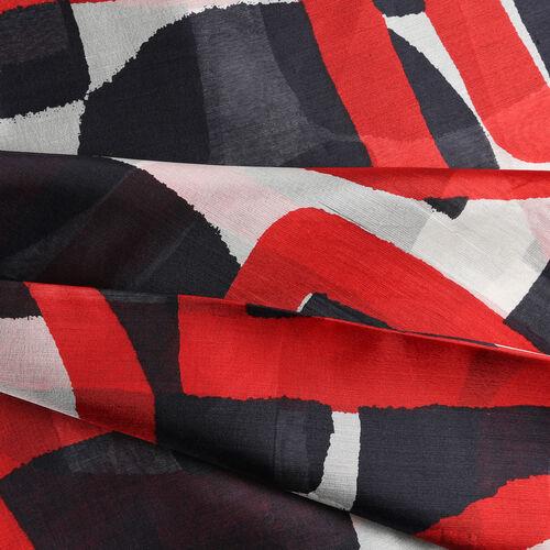 LA MAREY Pure 100% Mulberry Silk Geometric Pattern Scarf  (Size 180x110cm) - Black and Red