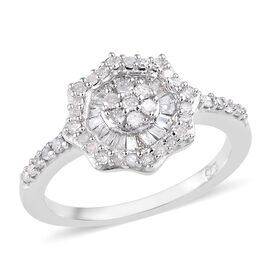 Diamond (Rnd and Bgt) Cluster Ring in Platinum Overlay Sterling Silver 0.50 Ct.