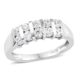 J Francis Platinum Overlay Sterling Silver (Rnd) Ring Made with Swarovski Zirconia