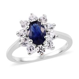 Masoala Sapphire (Ovl 1.00 Ct), Natural Cambodian Zircon Ring in Sterling Silver 2.00 Ct.