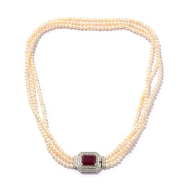 African Ruby (Oct 11.50 Ct), Fresh Water Pearl and Natural White Cambodian Zircon Necklace (Size 18) in Platinum Overlay Sterling Silver 170.000 Ct, Silver wt 6.00 Gms, Number of Gemstones- 421.