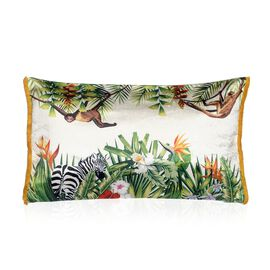 Designers Digitally Printed Floral Silky Velvet Floral Pillow with Fringes (Size 30x50 Cm) - White