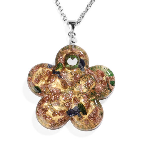 Green Murano Glass Flower Pendant with Chain (Size 24) in Rhodium Overlay Sterling Silver and Stainl