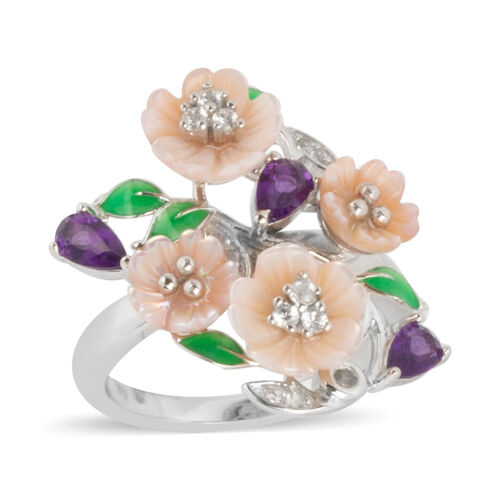 JARDIN COLLECTION - Pink Mother of Pearl, Amethyst and Natural White Cambodian Zircon Enameled Flora