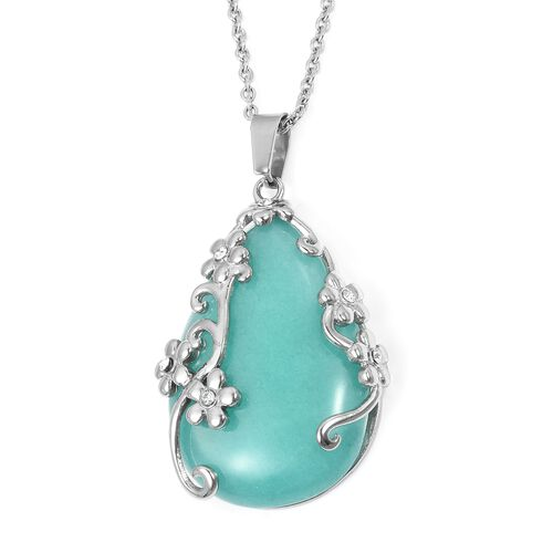 Designer Inspired- Russian Amazonite (Very Rare Size Pear 42X29 mm 55 Cts), White Austrian Crystal Pendant with Chain (Size 20), and Lever Back Earrings in Silver Plated