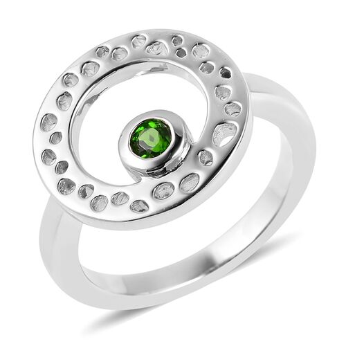 RACHEL GALLEY Russian Diopside (Rnd) Lattice Ring in Rhodium Overlay Sterling Silver