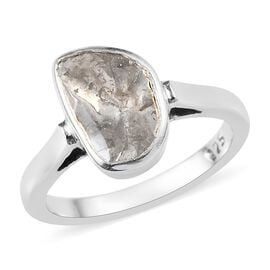 Artisan Crafted Polki Diamond Ring in Platinum Overlay Sterling Silver 0.500 Ct.