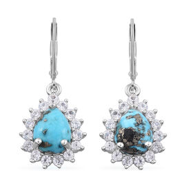 5 Carat Persian Turquoise and Cambodian Zircon Drop Lever Back Earrings in Sterling Silver