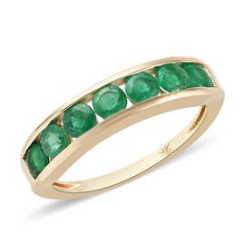 9K Yellow Gold AAA Kagem Zambian Emerald Half Eternity Band Ring 1.09 Ct.