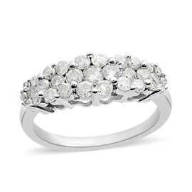 9K White Gold SGL Certified Diamond (Rnd) (I3/G-H) 5 Station Ring 1.005 Ct.