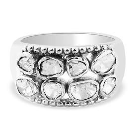 GP Polki Diamond ,Kanchanaburi Blue Sapphire  Ring in Platinum Overlay Sterling Silver 0.51 Ct,  Sil