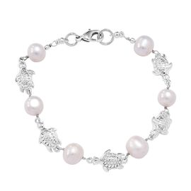 Freshwater Pearl and Tortoise Bracelet (Size 7.5) in Platinum Plated