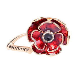 TJC Poppy Design - Black and White Austrian Crystal Enamelled Poppy Magnetic Brooch in Gold Plated
