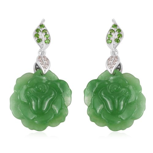 Carved Green Jade, Russian Diopside and Natural White Cambodian Zircon Floral Earrings (with Push Ba